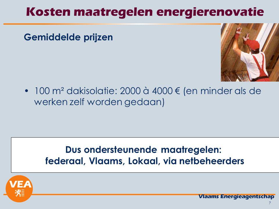 7 Kosten maatregelen energierenovatie Gemiddelde prijzen 100 m² dakisolatie: 2000 à 4000 € (en minder als de werken zelf worden gedaan) Dus ondersteunende maatregelen: federaal, Vlaams, Lokaal, via netbeheerders