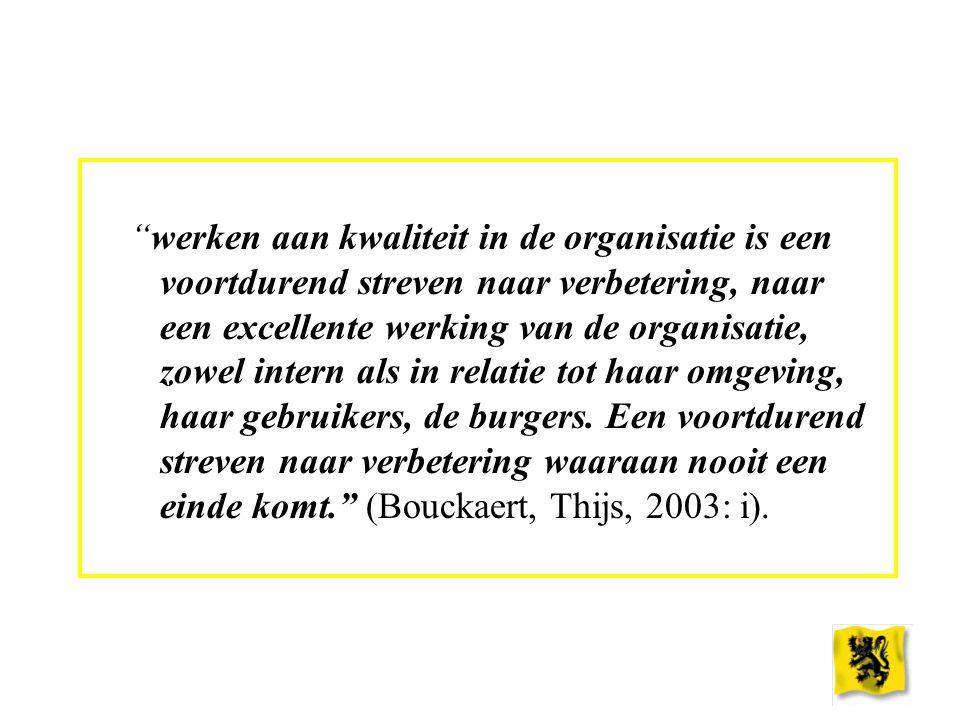 """""""werken aan kwaliteit in de organisatie is een voortdurend streven naar verbetering, naar een excellente werking van de organisatie, zowel intern als"""