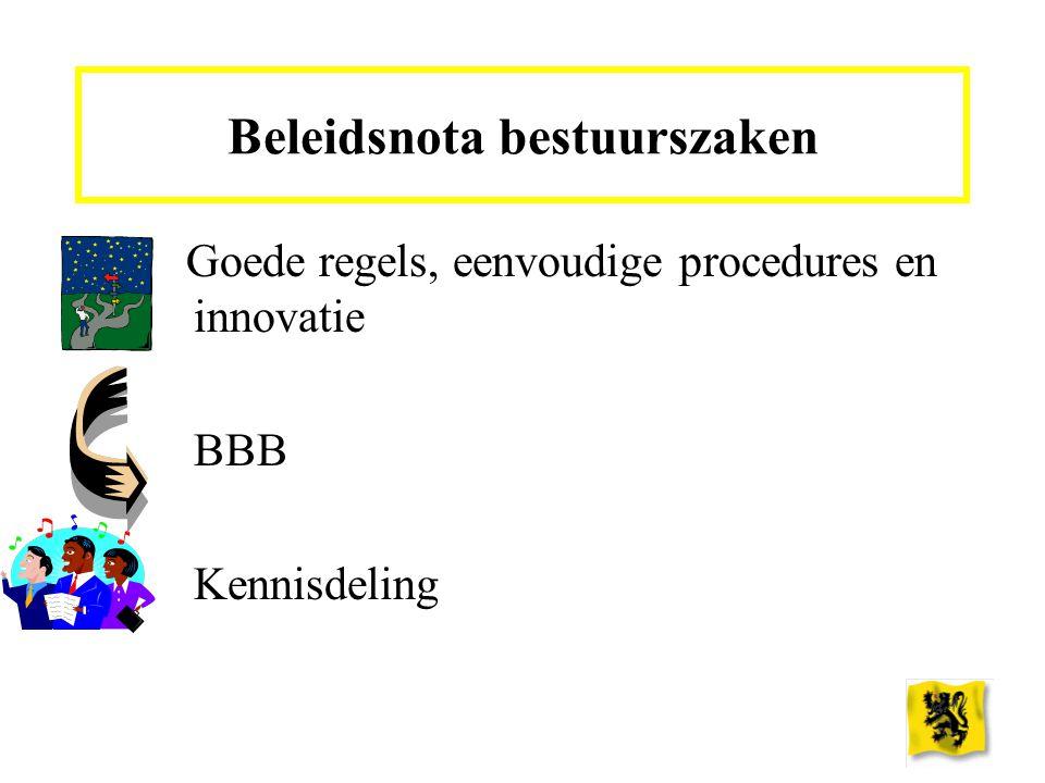 Goede regels, eenvoudige procedures en innovatie BBB Kennisdeling Beleidsnota bestuurszaken