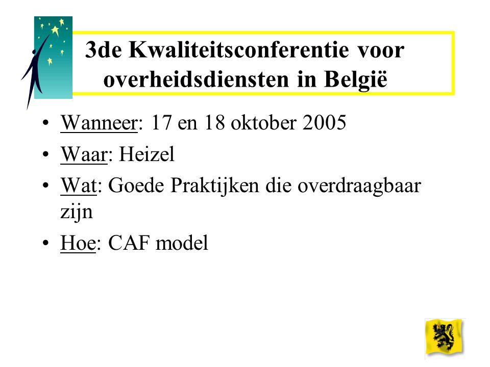 3de Kwaliteitsconferentie voor overheidsdiensten in België Wanneer: 17 en 18 oktober 2005 Waar: Heizel Wat: Goede Praktijken die overdraagbaar zijn Hoe: CAF model