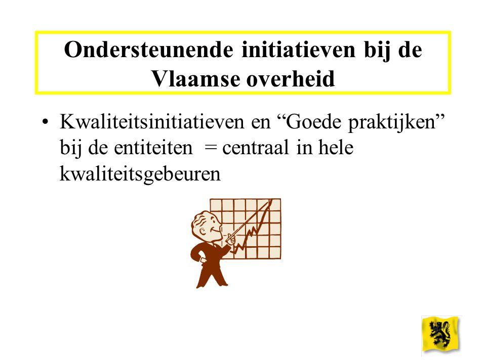 Ondersteunende initiatieven bij de Vlaamse overheid Kwaliteitsinitiatieven en Goede praktijken bij de entiteiten = centraal in hele kwaliteitsgebeuren
