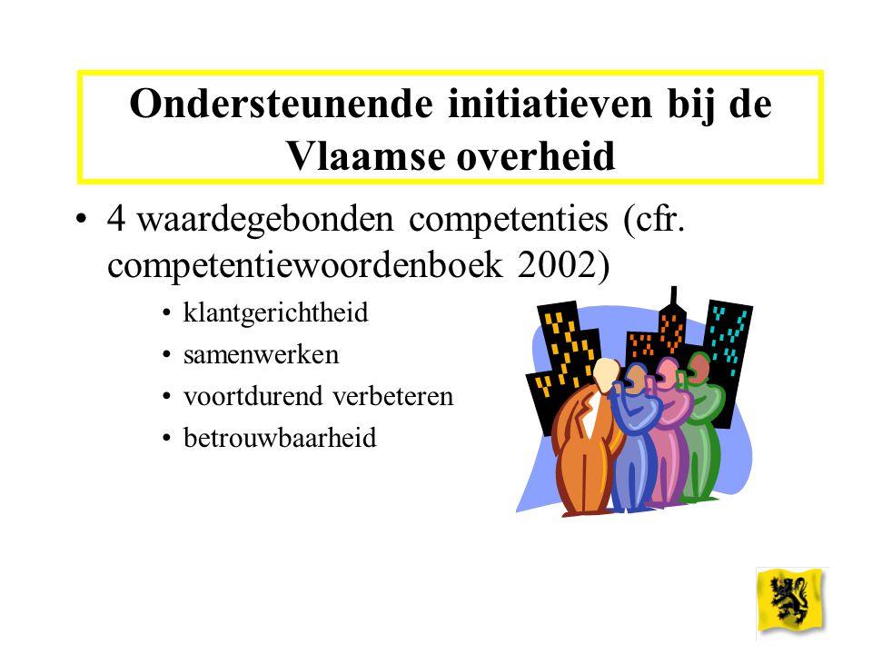 Ondersteunende initiatieven bij de Vlaamse overheid 4 waardegebonden competenties (cfr. competentiewoordenboek 2002) klantgerichtheid samenwerken voor