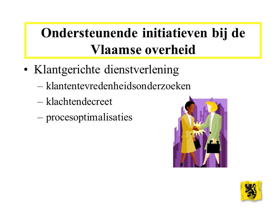 Ondersteunende initiatieven bij de Vlaamse overheid Klantgerichte dienstverlening –klantentevredenheidsonderzoeken –klachtendecreet –procesoptimalisaties