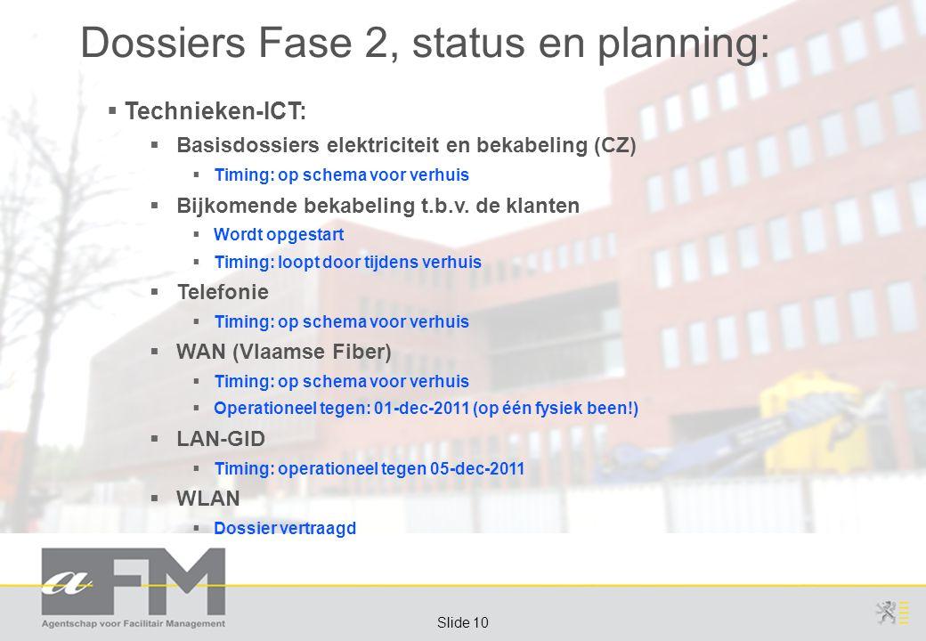 Page 10 Slide 10 Dossiers Fase 2, status en planning:  Technieken-ICT:  Basisdossiers elektriciteit en bekabeling (CZ)  Timing: op schema voor verhuis  Bijkomende bekabeling t.b.v.