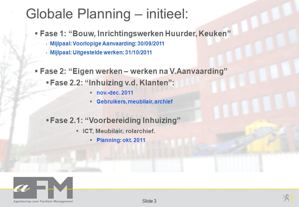 Page 3 Slide 3 Globale Planning – initieel:  Fase 1: Bouw, Inrichtingswerken Huurder, Keuken Mijlpaal: Voorlopige Aanvaarding: 30/09/2011 Mijlpaal: Uitgestelde werken: 31/10/2011  Fase 2: Eigen werken – werken na V.Aanvaarding  Fase 2.2: Inhuizing v.d.