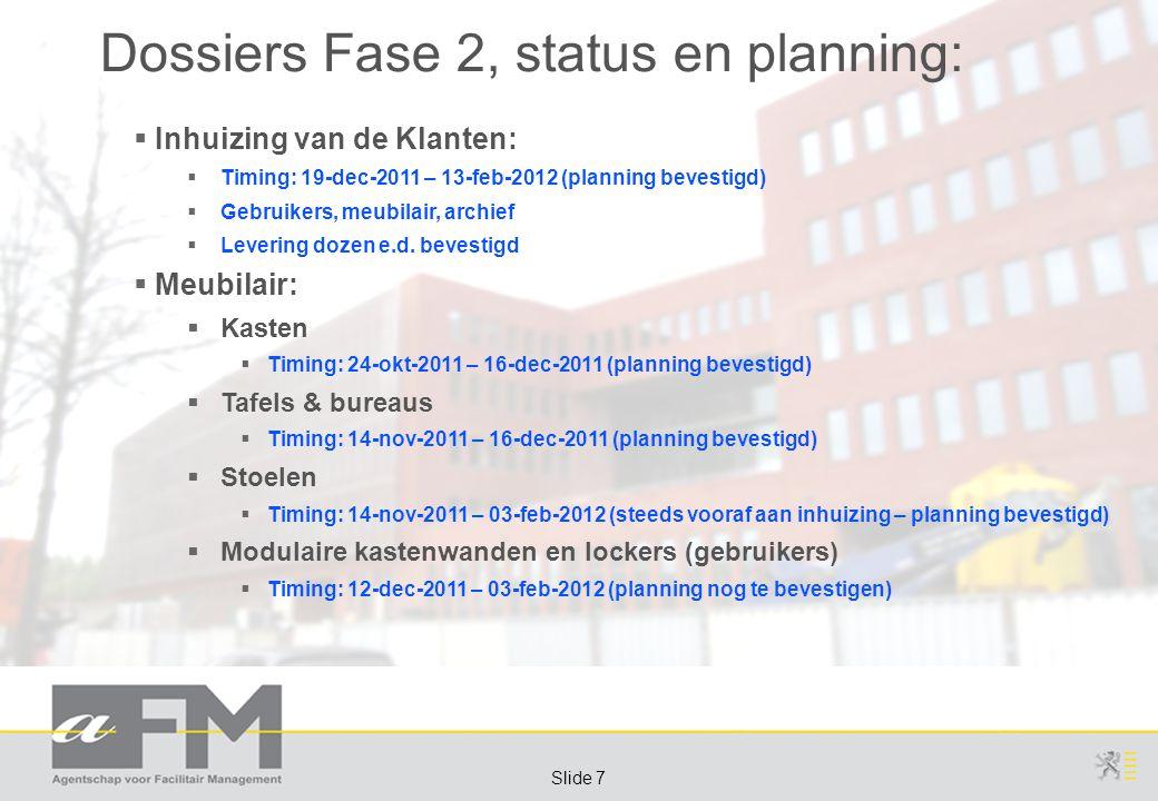 Page 7 Slide 7 Dossiers Fase 2, status en planning:  Inhuizing van de Klanten:  Timing: 19-dec-2011 – 13-feb-2012 (planning bevestigd)  Gebruikers, meubilair, archief  Levering dozen e.d.