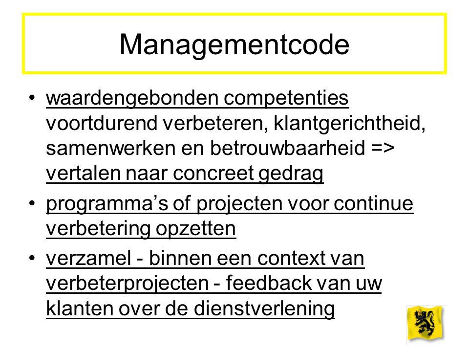 Managementcode waardengebonden competenties voortdurend verbeteren, klantgerichtheid, samenwerken en betrouwbaarheid => vertalen naar concreet gedrag