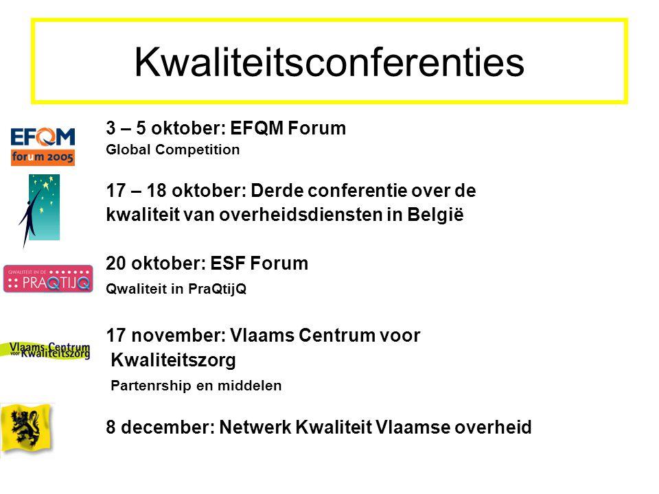 Kwaliteitsconferenties 3 – 5 oktober: EFQM Forum Global Competition 17 – 18 oktober: Derde conferentie over de kwaliteit van overheidsdiensten in Belg