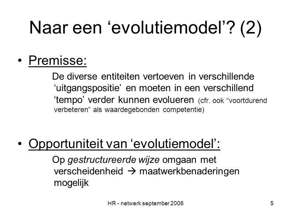 HR - netwerk september 20065 Naar een 'evolutiemodel'.