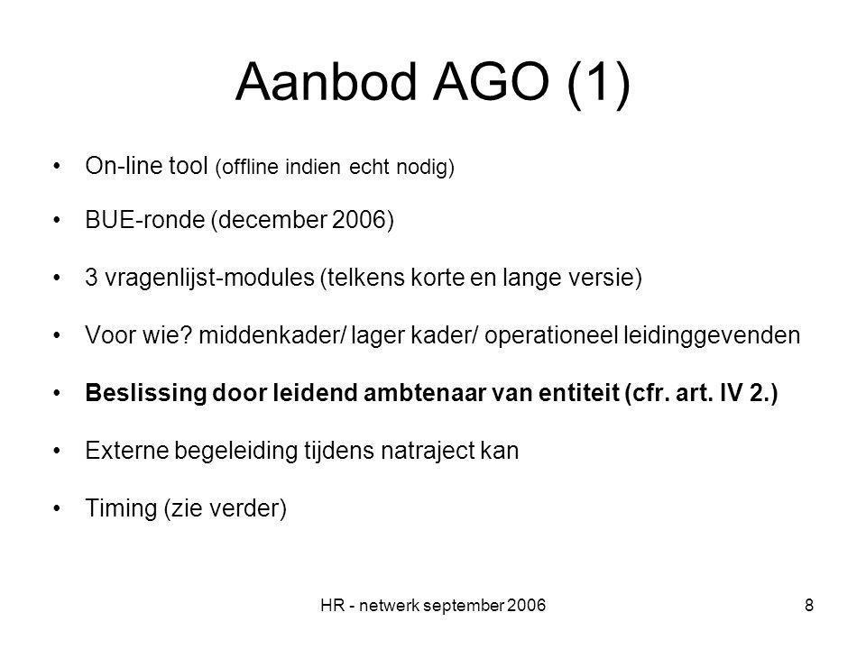 HR - netwerk september 20068 Aanbod AGO (1) On-line tool (offline indien echt nodig) BUE-ronde (december 2006) 3 vragenlijst-modules (telkens korte en lange versie) Voor wie.