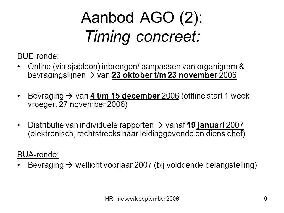 HR - netwerk september 20069 Aanbod AGO (2): Timing concreet: BUE-ronde: Online (via sjabloon) inbrengen/ aanpassen van organigram & bevragingslijnen  van 23 oktober t/m 23 november 2006 Bevraging  van 4 t/m 15 december 2006 (offline start 1 week vroeger: 27 november 2006) Distributie van individuele rapporten  vanaf 19 januari 2007 (elektronisch, rechtstreeks naar leidinggevende en diens chef) BUA-ronde: Bevraging  wellicht voorjaar 2007 (bij voldoende belangstelling)