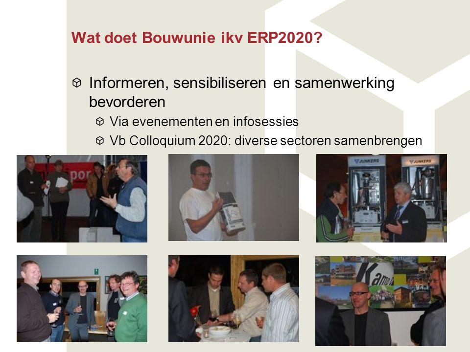 Wat doet Bouwunie ikv ERP2020? Informeren, sensibiliseren en samenwerking bevorderen Via evenementen en infosessies Vb Colloquium 2020: diverse sector