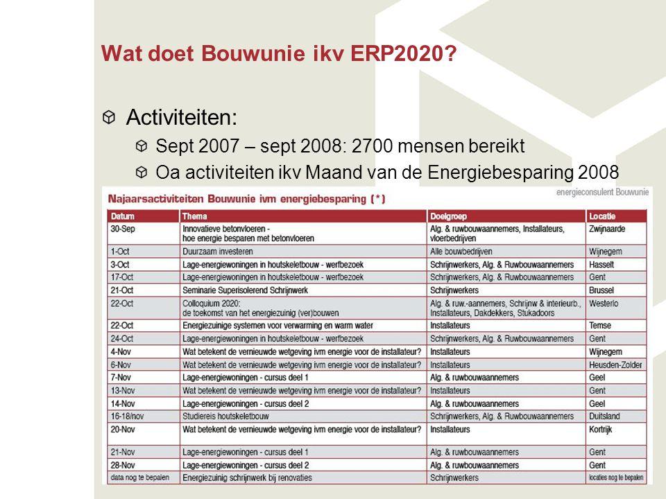 Wat doet Bouwunie ikv ERP2020? Activiteiten: Sept 2007 – sept 2008: 2700 mensen bereikt Oa activiteiten ikv Maand van de Energiebesparing 2008