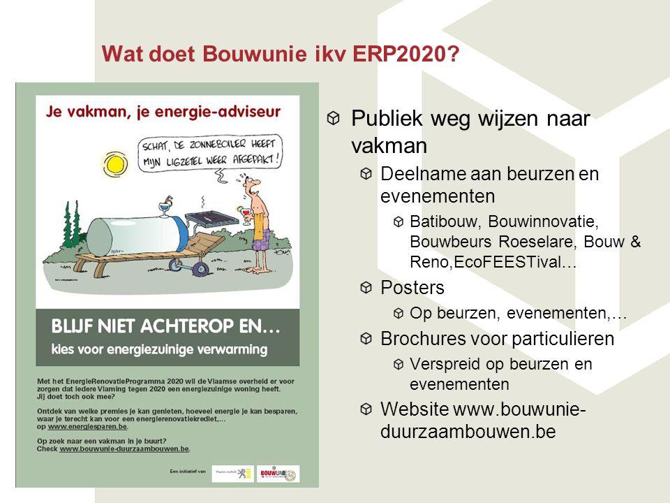 Wat doet Bouwunie ikv ERP2020? Publiek weg wijzen naar vakman Deelname aan beurzen en evenementen Batibouw, Bouwinnovatie, Bouwbeurs Roeselare, Bouw &