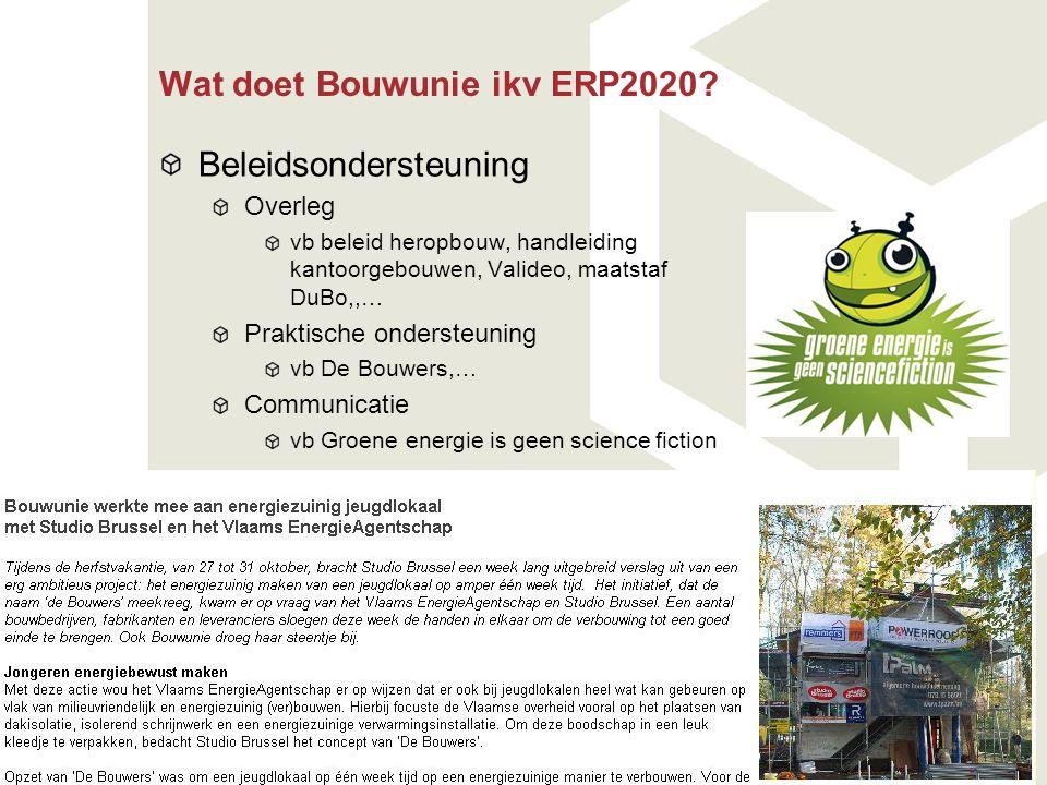 Wat doet Bouwunie ikv ERP2020? Beleidsondersteuning Overleg vb beleid heropbouw, handleiding kantoorgebouwen, Valideo, maatstaf DuBo,,… Praktische ond