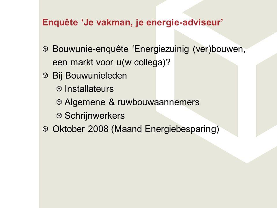 Enquête 'Je vakman, je energie-adviseur' Bouwunie-enquête 'Energiezuinig (ver)bouwen, een markt voor u(w collega)? Bij Bouwunieleden Installateurs Alg