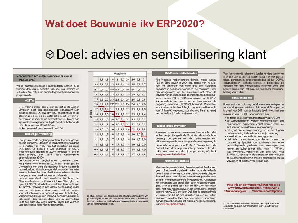 Wat doet Bouwunie ikv ERP2020? Doel: advies en sensibilisering klant