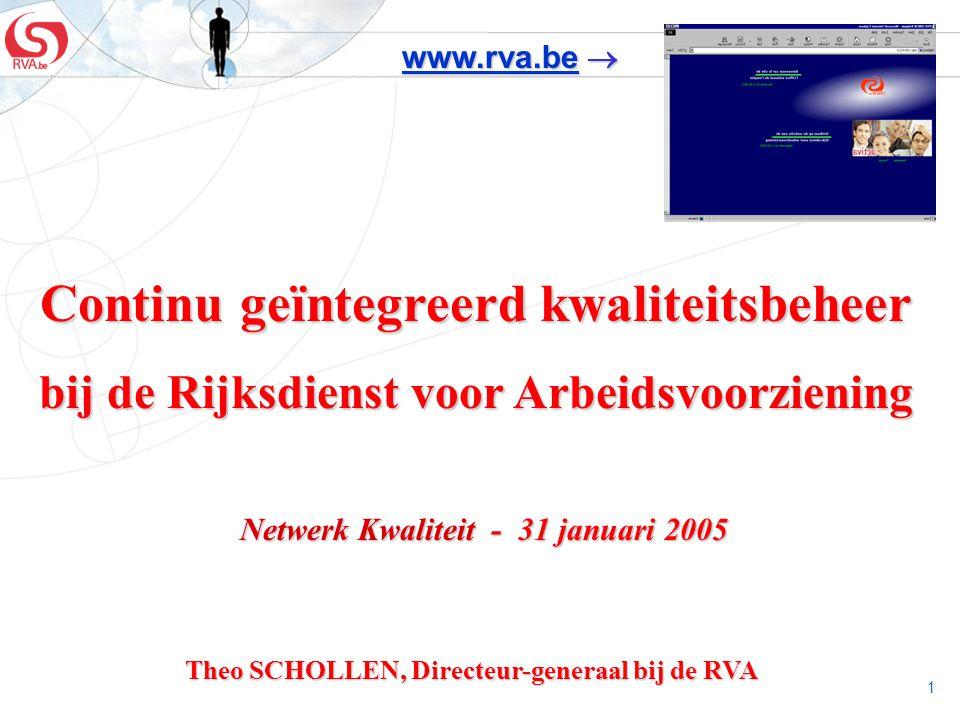 1 Continu geïntegreerd kwaliteitsbeheer bij de Rijksdienst voor Arbeidsvoorziening Netwerk Kwaliteit - 31 januari 2005 Netwerk Kwaliteit - 31 januari