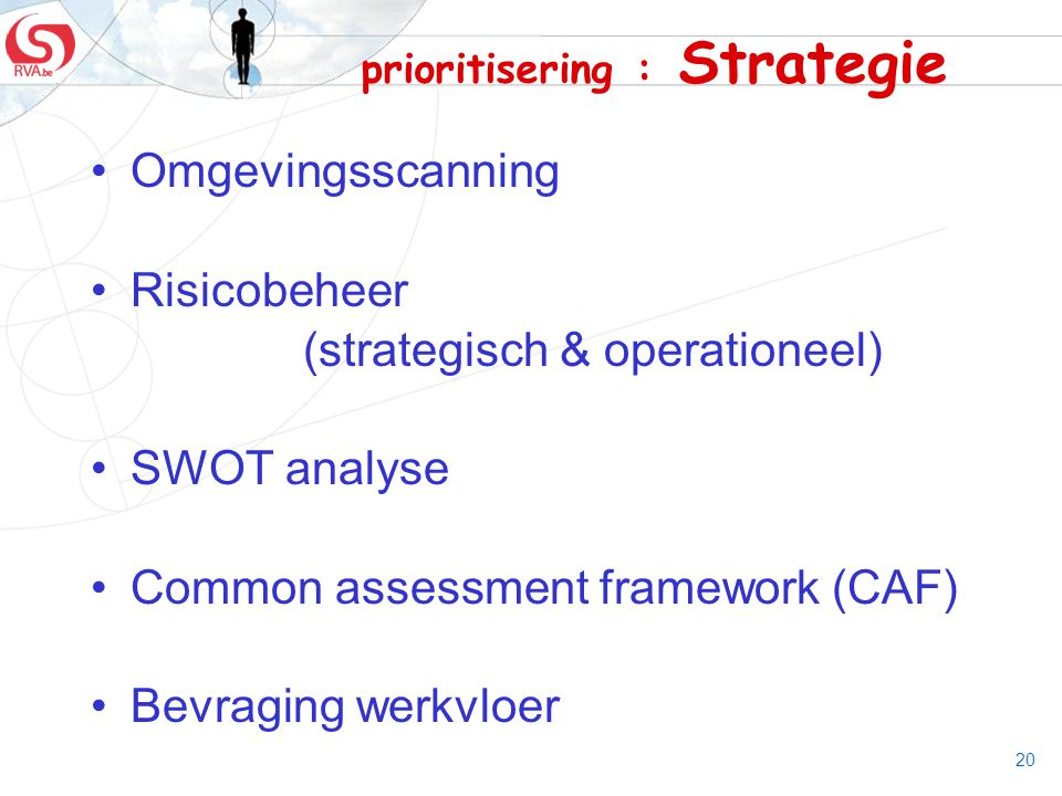20 prioritisering : Strategie Omgevingsscanning Risicobeheer (strategisch & operationeel) SWOT analyse Common assessment framework (CAF) Bevraging wer