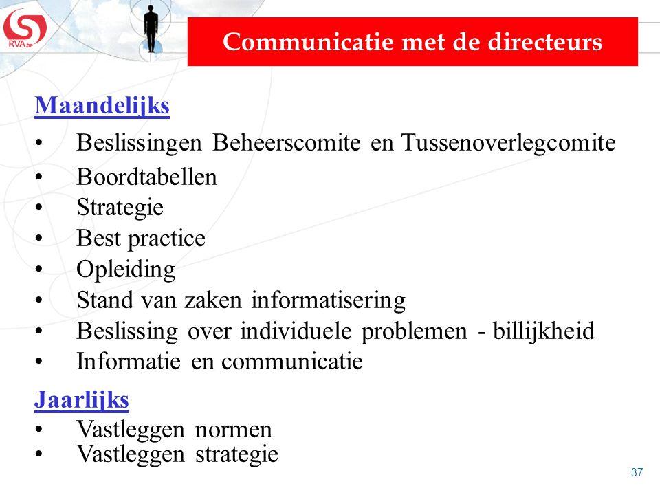 37 Communicatie met de directeurs Maandelijks Beslissingen Beheerscomite en Tussenoverlegcomite Boordtabellen Strategie Best practice Opleiding Stand