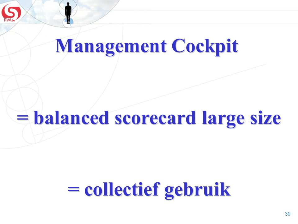 39 Management Cockpit = balanced scorecard large size = balanced scorecard large size = collectief gebruik