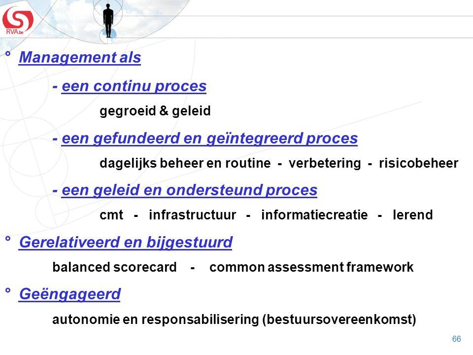66 ° Management als - een continu proces gegroeid & geleid - een gefundeerd en geïntegreerd proces dagelijks beheer en routine - verbetering - risicob
