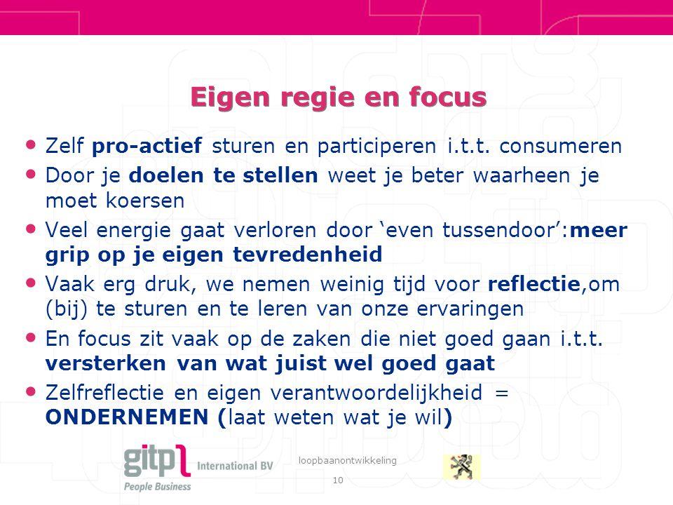 10 loopbaanontwikkeling Eigen regie en focus Zelf pro-actief sturen en participeren i.t.t.