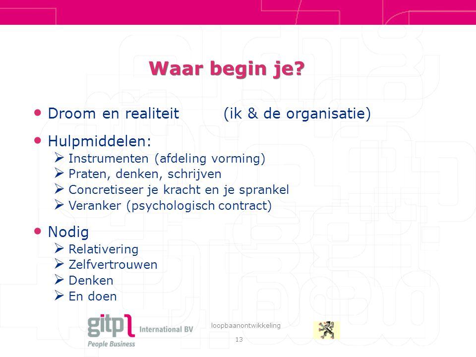 13 loopbaanontwikkeling Waar begin je? Droom en realiteit(ik & de organisatie) Hulpmiddelen:  Instrumenten (afdeling vorming)  Praten, denken, schri