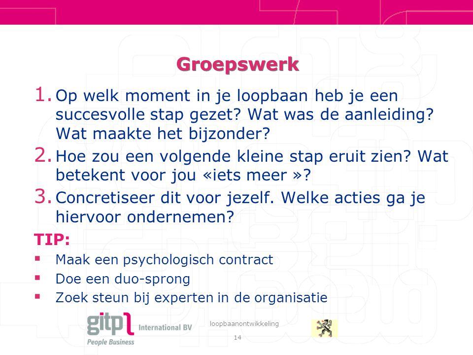14 loopbaanontwikkeling Groepswerk 1.
