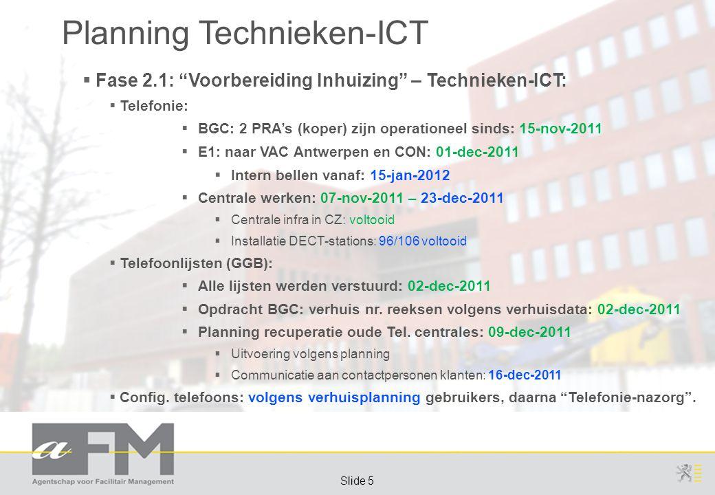 Page 5 Slide 5 Planning Technieken-ICT  Fase 2.1: Voorbereiding Inhuizing – Technieken-ICT:  Telefonie:  BGC: 2 PRA's (koper) zijn operationeel sinds: 15-nov-2011  E1: naar VAC Antwerpen en CON: 01-dec-2011  Intern bellen vanaf: 15-jan-2012  Centrale werken: 07-nov-2011 – 23-dec-2011  Centrale infra in CZ: voltooid  Installatie DECT-stations: 96/106 voltooid  Telefoonlijsten (GGB):  Alle lijsten werden verstuurd: 02-dec-2011  Opdracht BGC: verhuis nr.