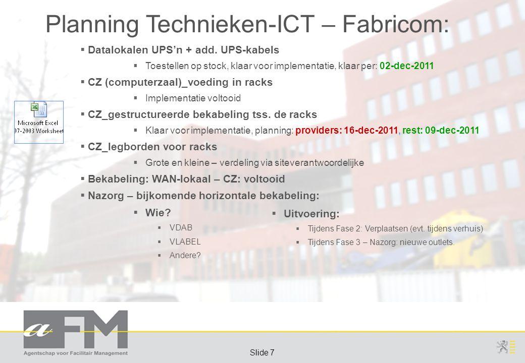 Page 7 Slide 7 Planning Technieken-ICT – Fabricom:  Datalokalen UPS'n + add.