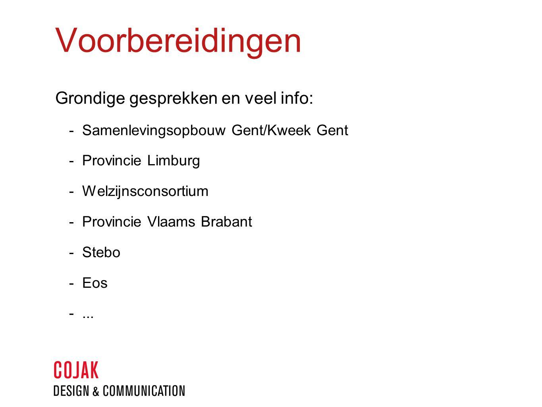 Voorbereidingen Grondige gesprekken en veel info:  Samenlevingsopbouw Gent/Kweek Gent  Provincie Limburg  Welzijnsconsortium  Provincie Vlaams Brabant  Stebo  Eos ...