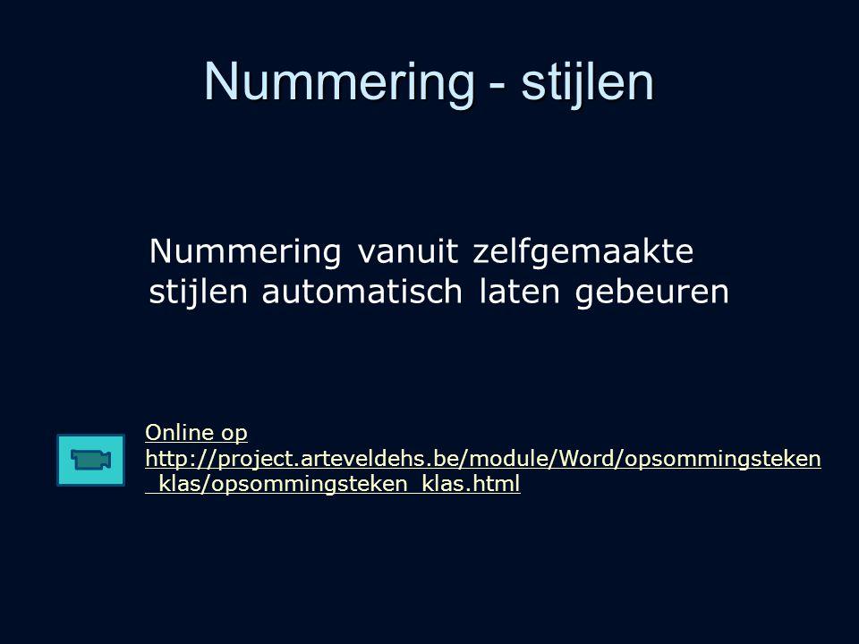 Nummering - stijlen Online op http://project.arteveldehs.be/module/Word/opsommingsteken _klas/opsommingsteken_klas.html Nummering vanuit zelfgemaakte