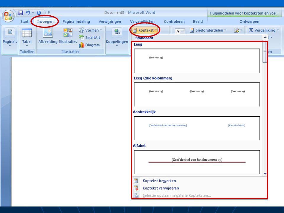 Kop- en voetteksten Kop – en voetteksten maken Bevat bvb: datum, naam van de auteur, het nummer en de jaargang (nieuwsbrief) of een hoofdstuknaam en e