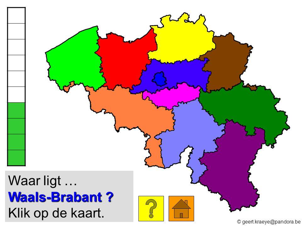 Waals-Brabant ? Waar ligt … Waals-Brabant ? Klik op de kaart. © geert.kraeye@pandora.be