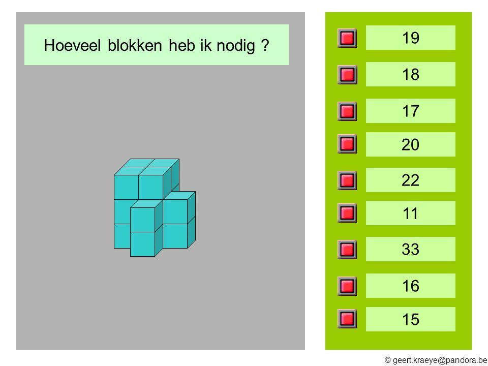© geert.kraeye@pandora.be 19 18 17 20 22 11 33 16 15 Hoeveel blokken heb ik nodig ?