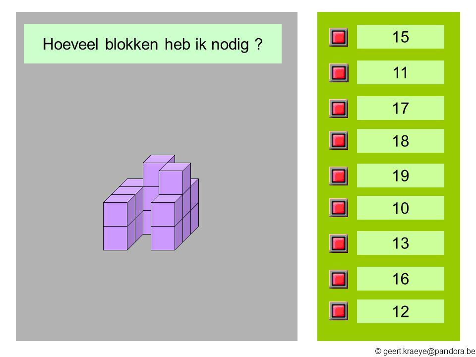 © geert.kraeye@pandora.be 15 11 17 18 19 10 13 16 12 Hoeveel blokken heb ik nodig ?