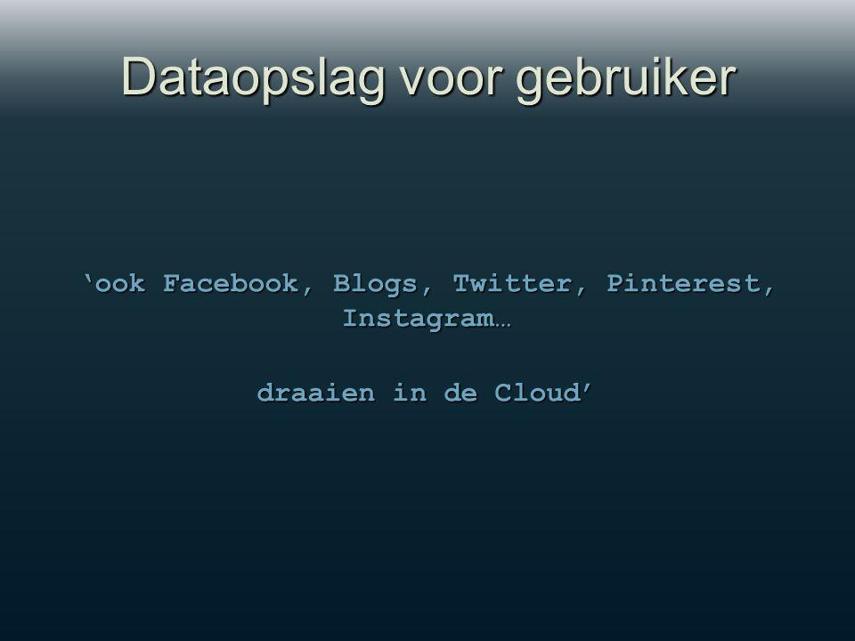 Dataopslag voor gebruiker 'ook Facebook, Blogs, Twitter, Pinterest, Instagram… 'ook Facebook, Blogs, Twitter, Pinterest, Instagram… draaien in de Cloud'