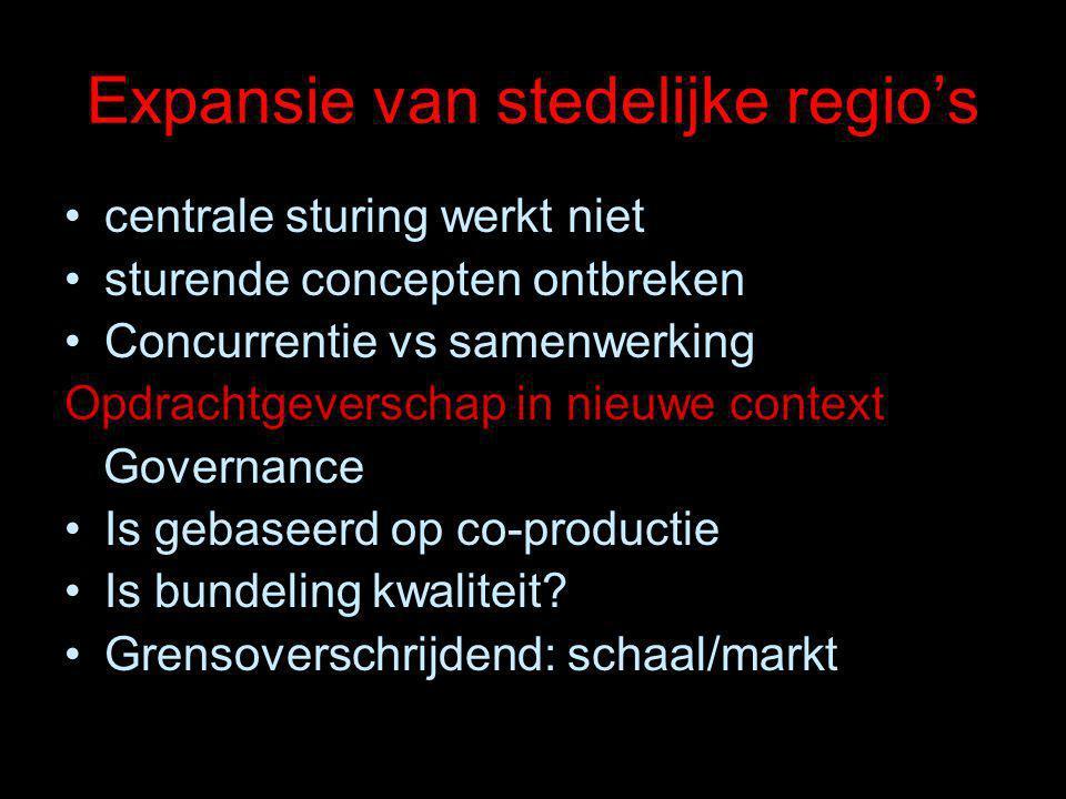 Expansie van stedelijke regio's centrale sturing werkt niet sturende concepten ontbreken Concurrentie vs samenwerking Opdrachtgeverschap in nieuwe context Governance Is gebaseerd op co-productie Is bundeling kwaliteit.