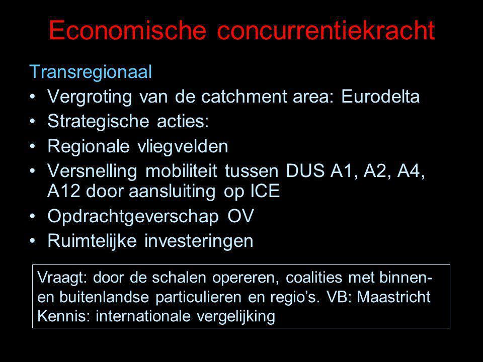 Economische concurrentiekracht Transregionaal Vergroting van de catchment area: Eurodelta Strategische acties: Regionale vliegvelden Versnelling mobiliteit tussen DUS A1, A2, A4, A12 door aansluiting op ICE Opdrachtgeverschap OV Ruimtelijke investeringen Vraagt: door de schalen opereren, coalities met binnen- en buitenlandse particulieren en regio's.