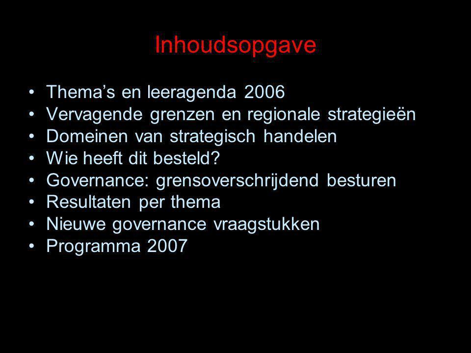 Inhoudsopgave Thema's en leeragenda 2006 Vervagende grenzen en regionale strategieën Domeinen van strategisch handelen Wie heeft dit besteld? Governan