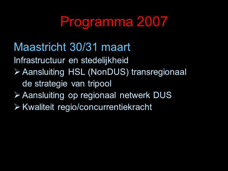 Programma 2007 Maastricht 30/31 maart Infrastructuur en stedelijkheid  Aansluiting HSL (NonDUS) transregionaal de strategie van tripool  Aansluiting op regionaal netwerk DUS  Kwaliteit regio/concurrentiekracht