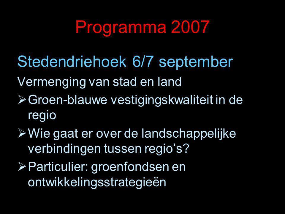 Programma 2007 Stedendriehoek 6/7 september Vermenging van stad en land  Groen-blauwe vestigingskwaliteit in de regio  Wie gaat er over de landschap