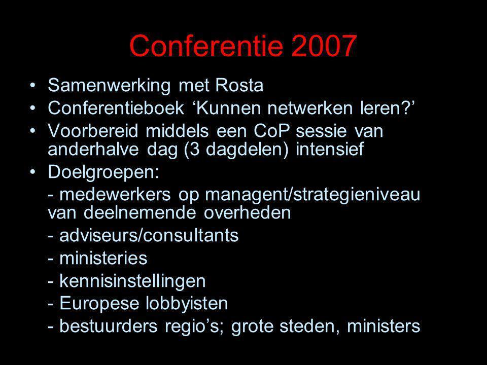 Conferentie 2007 Samenwerking met Rosta Conferentieboek 'Kunnen netwerken leren ' Voorbereid middels een CoP sessie van anderhalve dag (3 dagdelen) intensief Doelgroepen: - medewerkers op managent/strategieniveau van deelnemende overheden - adviseurs/consultants - ministeries - kennisinstellingen - Europese lobbyisten - bestuurders regio's; grote steden, ministers