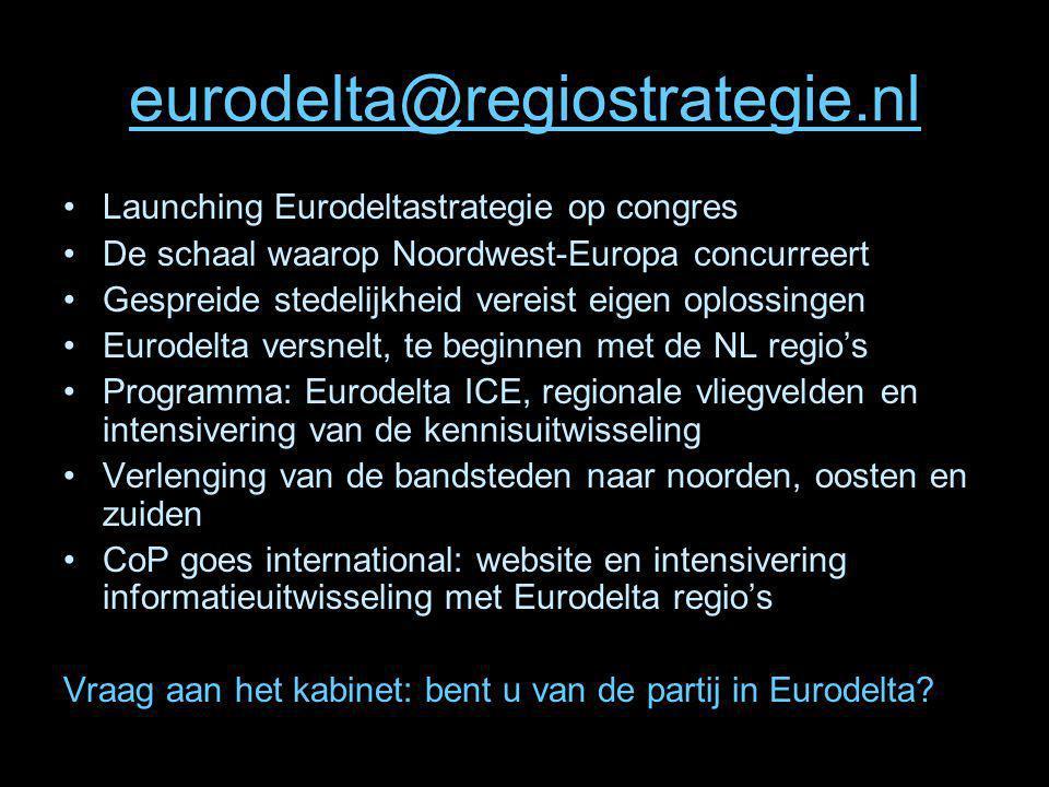 eurodelta@regiostrategie.nl Launching Eurodeltastrategie op congres De schaal waarop Noordwest-Europa concurreert Gespreide stedelijkheid vereist eige