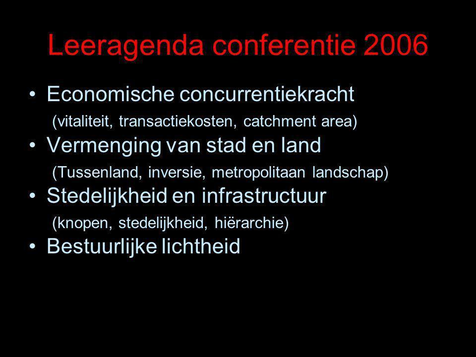 Leeragenda conferentie 2006 Economische concurrentiekracht (vitaliteit, transactiekosten, catchment area) Vermenging van stad en land (Tussenland, inversie, metropolitaan landschap) Stedelijkheid en infrastructuur (knopen, stedelijkheid, hiërarchie) Bestuurlijke lichtheid