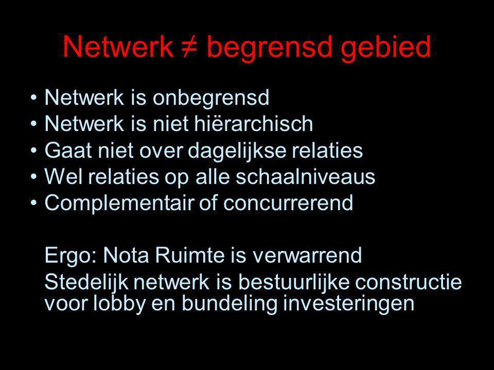 Netwerk ≠ begrensd gebied Netwerk is onbegrensd Netwerk is niet hiërarchisch Gaat niet over dagelijkse relaties Wel relaties op alle schaalniveaus Complementair of concurrerend Ergo: Nota Ruimte is verwarrend Stedelijk netwerk is bestuurlijke constructie voor lobby en bundeling investeringen