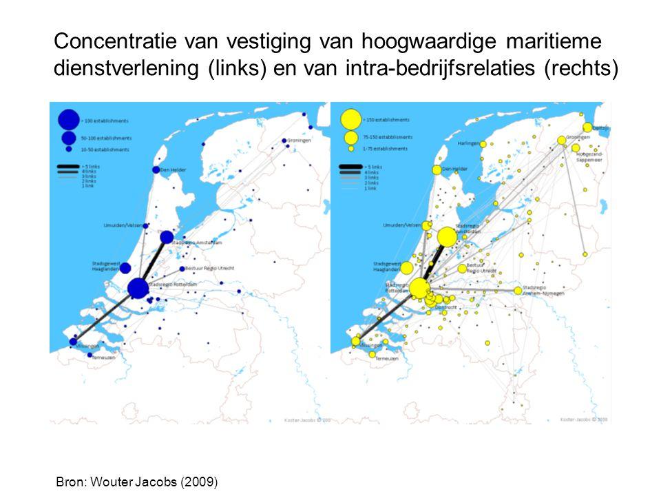 S M A R T P O R T Concentratie van vestiging van hoogwaardige maritieme dienstverlening (links) en van intra-bedrijfsrelaties (rechts) Bron: Wouter Ja