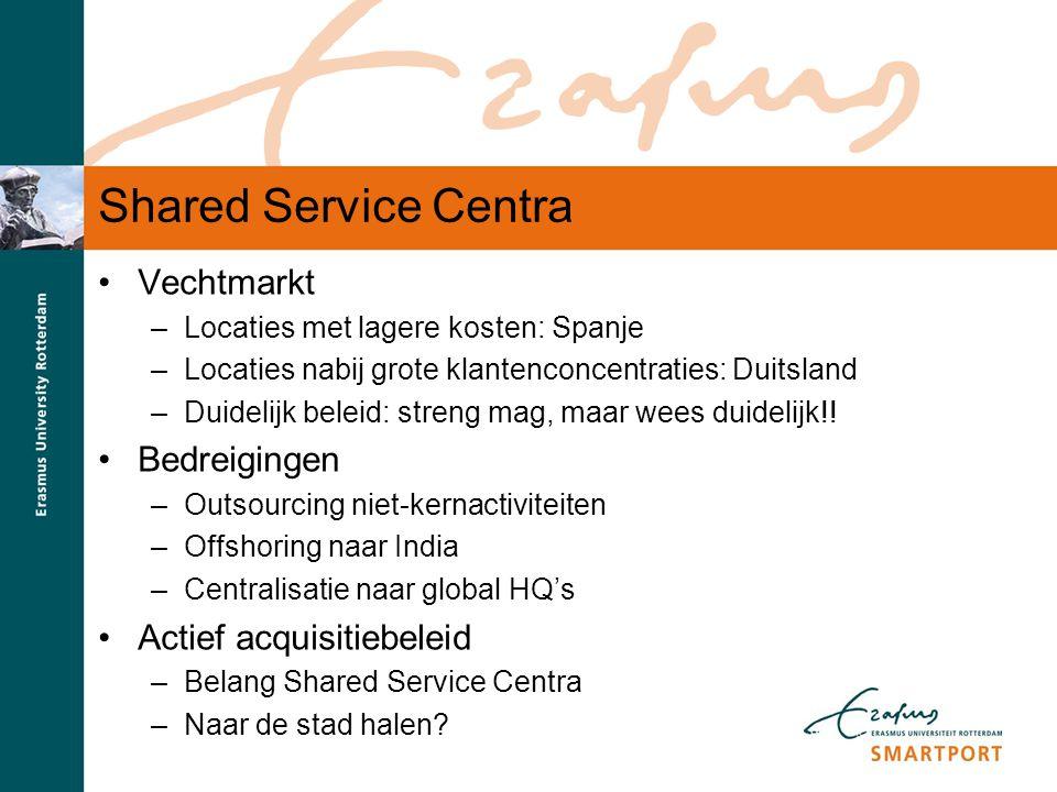 S M A R T P O R T Shared Service Centra Vechtmarkt –Locaties met lagere kosten: Spanje –Locaties nabij grote klantenconcentraties: Duitsland –Duidelij