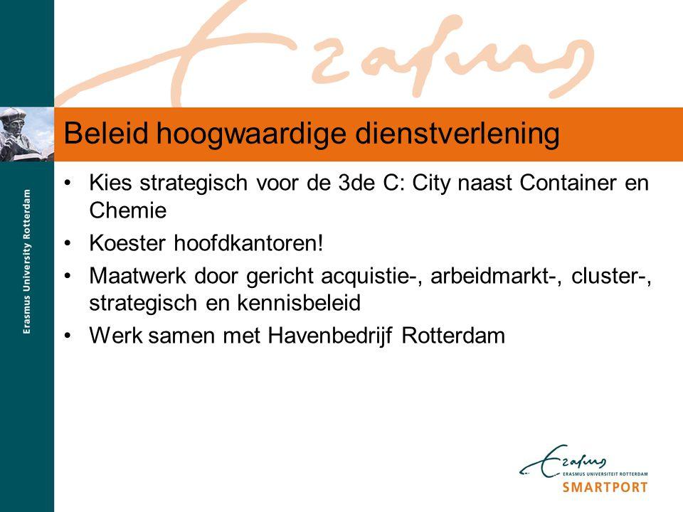 S M A R T P O R T Beleid hoogwaardige dienstverlening Kies strategisch voor de 3de C: City naast Container en Chemie Koester hoofdkantoren! Maatwerk d